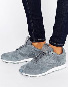 best website 092c9 6fb85 Reebok Classic Leather Sneakers In Gray With Guilded Edge