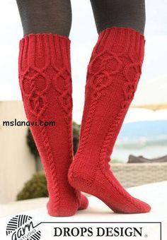 Socks & Slippers - Free knitting patterns and crochet patterns by DROPS Design Cable Knit Socks, Crochet Socks, Knitted Slippers, Wool Socks, Knitting Socks, Free Knitting, Knit Crochet, Red Socks, Cable Knitting Patterns