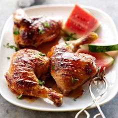 Grilled Chicken with Watermelon Glaze From Better Homes and Gardens, ideas and improvement projects for your home and garden plus recipes and entertaining ideas.