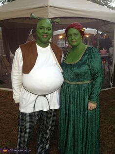 Shrek & Fiona - Homemade costumes for couples. I love the stuffed guy. Of course, I will need a tiara ... which Andy will inevitably end up wearing. lol
