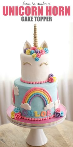 How to Make a Unicorn Horn Cake Topper {Video Tutorial - Cake Decorating Writing Ideen Cupcakes, Cupcake Cakes, Unicorn Cake Topper, Unicorn Cakes, Unicorn Rainbow Cake, Unicorn Cake Design, Easy Unicorn Cake, Rainbow Cakes, Plain Cake