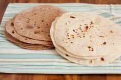 Homemade Tortillas - White and Whole Wheat recipe.  I've never seen a recipe that was for whole wheat before!