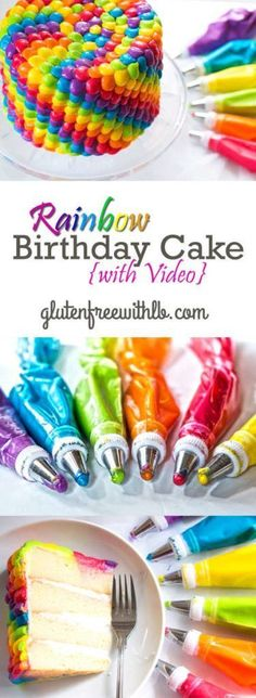 Rainbow Birthday Cake with an easy-to-follow Video tutorial! | This gluten free vanilla cake recipe with rainbow buttercream frosting is perfect for a kids birthday party or special event.
