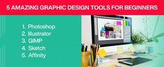 5 Amazing Graphic Design Tools For Beginners #graphicdesign #webdesign #designtools #graphicdesigner Graphic Design Tools, Tool Design, Web Design, Photoshop, Amazing, Illustration, Illustrations, Website Designs, Site Design