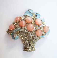 Pink and blue moonglow glass flower basket brooch by YosFinds
