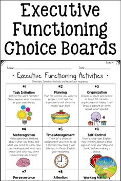 Do you need to teach skills like planning, organization, self-control, and time management? Use these fun and engaging choice boards! They are the perfect way to teach executive functioning skills to upper elementary and middle school students. You can assign all activities or let students choose on their own. Student Success, Student Work, Choice Boards, Executive Functioning, Study Skills, Self Control, Upper Elementary, Time Management, Middle School