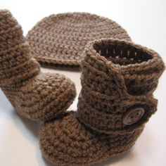 Crochet hat and booties set  Ready to ship  by ThoughtfulStitches, $25.00