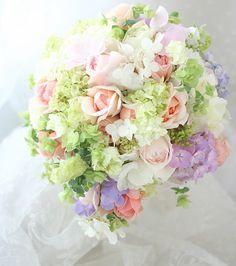 ブーケ ティアドロップ あじさい淡色 : 一会 ウエディングの花