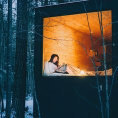 Nesting in the woods #tinyhouse #getaway #cabinporn #hygge Photo by @joethommas