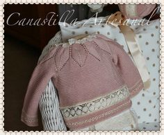 ~~ Knitting: Leaf-patterned yoke on baby sweater, hem embellished with lace insertion & embroidery Baby Knitting, Crochet Baby, Knit Crochet, Knitting Ideas, Baby Barn, Christening Gowns, Heirloom Sewing, Baby Socks, Baby Sweaters