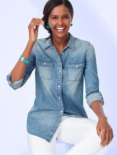 A casual wardrobe staple that every woman should own, this classic denim button-down was designed to be worn with just about anything. Thanks to its easy fit and versatile, vintage-inspired finish, it's sure to be a go-to for many years to come. | Talbots