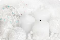 Winter *❄~*.Wishes & Dreams.*~❄*   Candles, Glass Snowballs & Filigree White . . .