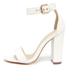 Galleria White Ankle Strap Heels (250 GTQ) ❤ liked on Polyvore featuring shoes, sandals, heels, high heels, shoes heels, white, high heeled footwear, high heel shoes, white shoes and high heels sandals