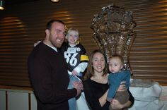 Brett Keisel with the 65 Roses Sports Auction logo designed by Zola...carved out of ice. HOW COOL!!