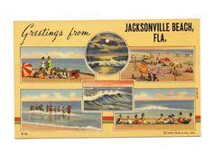 GREETINGS JACKSONVILLE BEACH FL Florida vintage Curt Teich Linen Postcard