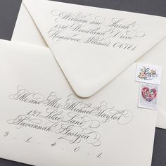 """17 Likes, 4 Comments - Benjawan (@benny_calligraphy) on Instagram: """"Soft White envelopes from @papersource and gray ink seem very popular. One of my favorite color…"""""""