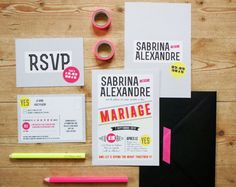 Sabrina + Alex's Modern, Graphic, and Neon Wedding Invitations, Design and Photo Credits: Lise Mailman of Ruban Collectif