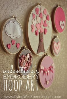 Valentines Day Embroidery Hoop Art.  These darling embroidery hoops make a fun & surprisingly easy craft to do with kids! A few simple stitches are all you need to learn to make almost any design.  Post includes a great little video tutorial! by marcia