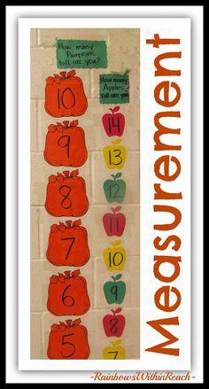Non-standard Measurement Chart for Kindergarten using Pumpkins and Apples for comparison via RainbowsWithinReach Measurement Kindergarten, Math Measurement, Kindergarten Math Activities, Preschool Math, Math Resources, Preschool Ideas, Craft Ideas, Classroom Crafts, Math Classroom