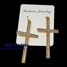 """Find More Drop Earrings Information about 2016 New Hip Hop 3"""" Big Rhinestone Cross Dangle Earrings Women Cheap Price on Sale Fashion Crystal Cross Earrings Women,High Quality earring holder jewelry display,China earrings traditional Suppliers, Cheap earring pin from Miss Fashion Co.,Ltd  on Aliexpress.com"""
