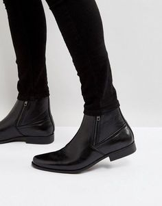 53105059648a DESIGN chelsea boots in black faux leather with zips