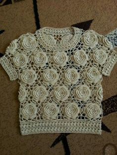 Crochet rose motif top