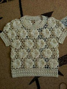 Crochet rose motif top