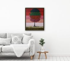 Seasons with Floating Frame Seasons - Colorful abstract tree painting Modern acrylic on canvas painting. Ready to hang wall artwork. #art #painting #abstract #acrylic #modern #original #wall #decor #gift #landscape #seasons #homedecor
