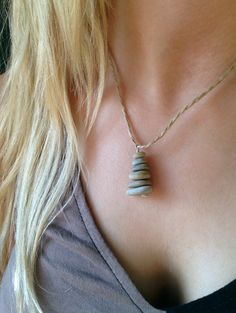 Column of Zen beach stones as a pendant by TheStoneWoodStudio