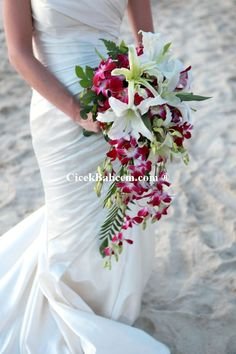 orchid lily cascade wedding bouquet