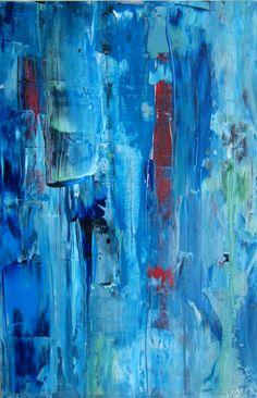 Acryl auf Foto blau rot