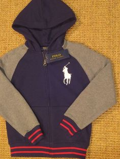 671b9266b Polo ralph lauren boy s big pony hoodie jacket size 6 zippered blue new