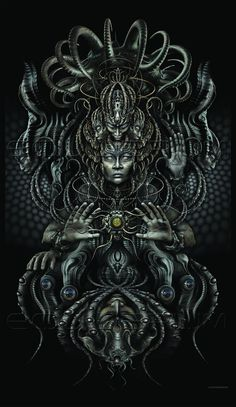 "Tapestry ""Warlords of Atlantis"" full version by Luminokaya visionary psychedelic limited edition art Fantasy Kunst, Dark Fantasy Art, Dark Art, Psychedelic Art, Backpiece Tattoo, Giger Art, Psy Art, Arte Horror, Art Graphique"