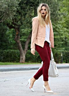 blush blazer, burgundy pants and white shoes... unexpected combination