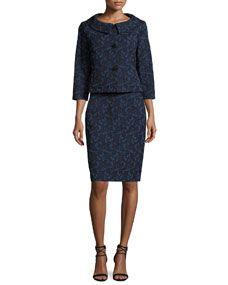 Albert Nipon Webbed-Lace Dress w/ Jacket