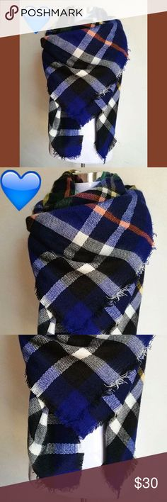 Cobalt Blue Buffalo Check Plaid Blanket Scarf The must have blanket scarf is back! Wrap it around as many times as you'd like, or wear it long. A great layering piece to bundle up on those brisk fall & winter days. Hand cut fabric, with slightly frayed edges, to give it a more handmade vibe. *First photo is a similar style* M A T E R I A L Acrylic Cotton Blend  C O L O R S Cobalt Blue, Black, White, Yellow, Orange, Green Buffalo Check Plaid  C A R E Dry Clean OR hand wash with cold water…