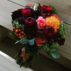 Autumn bridal bouquet with dahlias, peony roses and more
