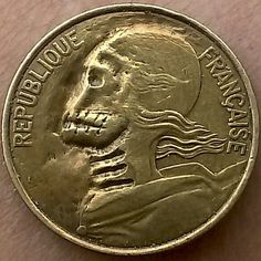 J.D. Sharum - Skull/Zombie carved on modern French coin
