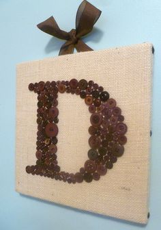 MAKING THIS!!!  =)  Baby Boy Nursery Button Letter Wall Art  by letterperfectdesigns, $85.00