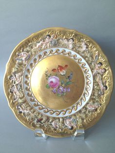 Beautiful 19th Century Hand Painted Porcelain Capodimonte Plate