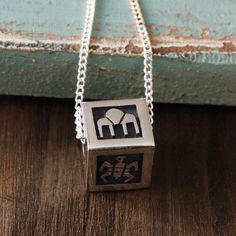 HOPI STERLING SILVER OVERLAY CUBE NECKLACE BY DANIELLE WADSWORTH NATIVE AMERICAN