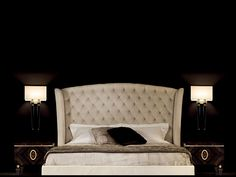 Upholstered double bed with upholstered headboard KESY Kesy Collection by Capital Collection by Atmosphera