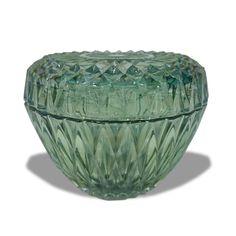Sucrier en verre avec son couvercle - Duralex France Vert émeraude.