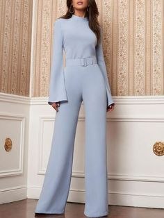 High Neck Bell Sleeve Wide Leg Jumpsuit With Belt - May 18 2019 at Trend Fashion, Look Fashion, Hijab Fashion, Fashion Dresses, Fashion Design, Feminine Fashion, Classy Fashion, Womens Fashion, Spring Fashion