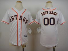 Youth's Houston Astros Customized Home White MLB Cool Base Jersey