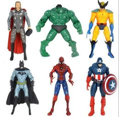 6Pcs/Lot The Avengers Action Figures Super Hero Disney Toy Children Doll Hulk Captain America Superman Batman Thor Iron Man Gift