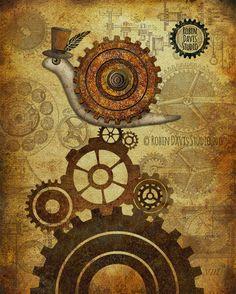 "Steampunk Snail - 8""x10"" Top Hat Snail print - Vintage gears- Industrial background - Rustic Decor -Cute snail print -Robin Davis Studio"