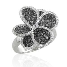 Effy Black & White Diamond Ring in 14k White Gold