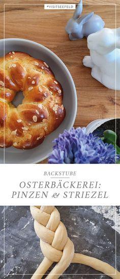 Es gibt ein paar Dinge, die zu Ostern einfach nicht fehlen dürfen: Dazu zählen bunte Eier, der Osterhase – und Pinzen und Striezel! Diese köstlichen Leckereien versüßen uns in Tirol die Osterjause. Die hübsch geflochtenen Gebäcke sind gar nicht so schwierig zu backen und wir haben ein altes Tiroler Traditionsrezept für euch, mit dem die perfekten Pinzen und Striezel sicher gelingen. Zen, Doughnut, Desserts, Food, Couple Things, Simple, Easter Bunny, Treats, Tailgate Desserts