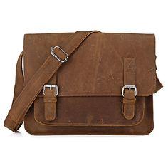 "Handmade Vintage Leather Messenger Bag / Leather Satchel / Leather Cross Body Bag / 11"" MacBook / iPad Bag - n72-2 - Thumbnail 1"
